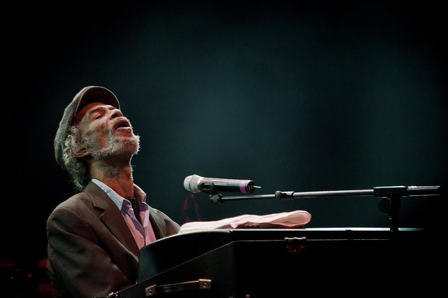 Gil Scott Heron playing piano WOMAD 2010 Chalton Park
