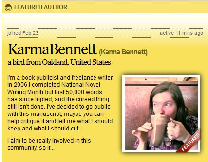 ZOMG Karma Bennett featured author protagonize smallest ZOMG IM THE FEATURED AUTHOR THIS WEEK ON PROTAGONIZE