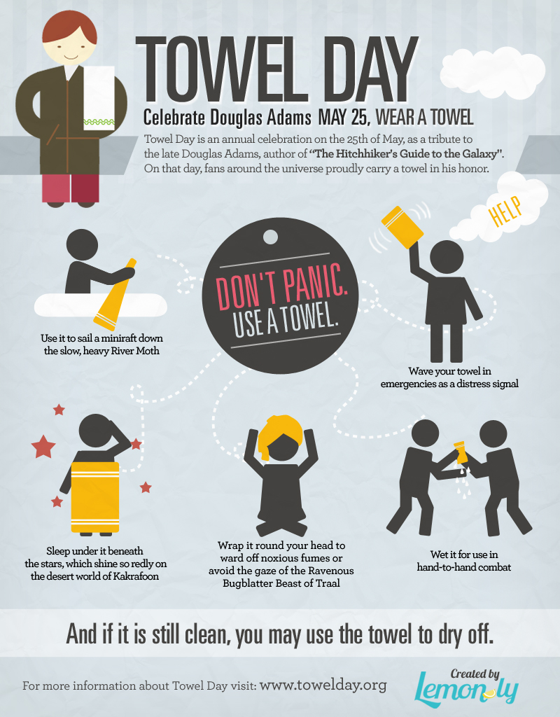 Towel Day infographic in remembrance of Douglas Adams