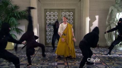Caesar fighting ninjas (from How I Met Your Mother)