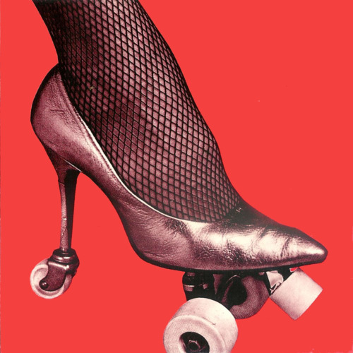 rollerskate high heel on red background