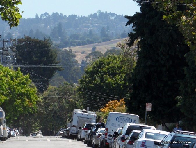 The Oakland hills looking East from near Telegraph Ave