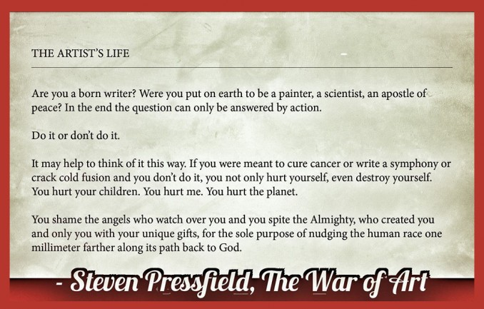 quote from steven pressfield war of art