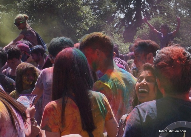 The crowd at UC Berkeley's Holi festival