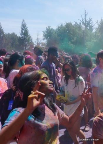Woman dancing at UC Berkeley Holi fest