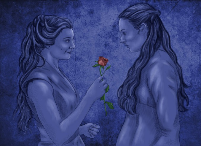 Margaery and Sansa by MiliaTimmain