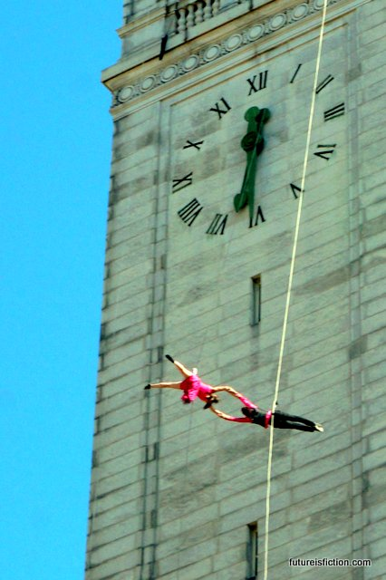 aerial swing dancers on the Campanile