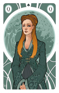 Sansa Stark illustrated as a playing card by Simona Bonafini