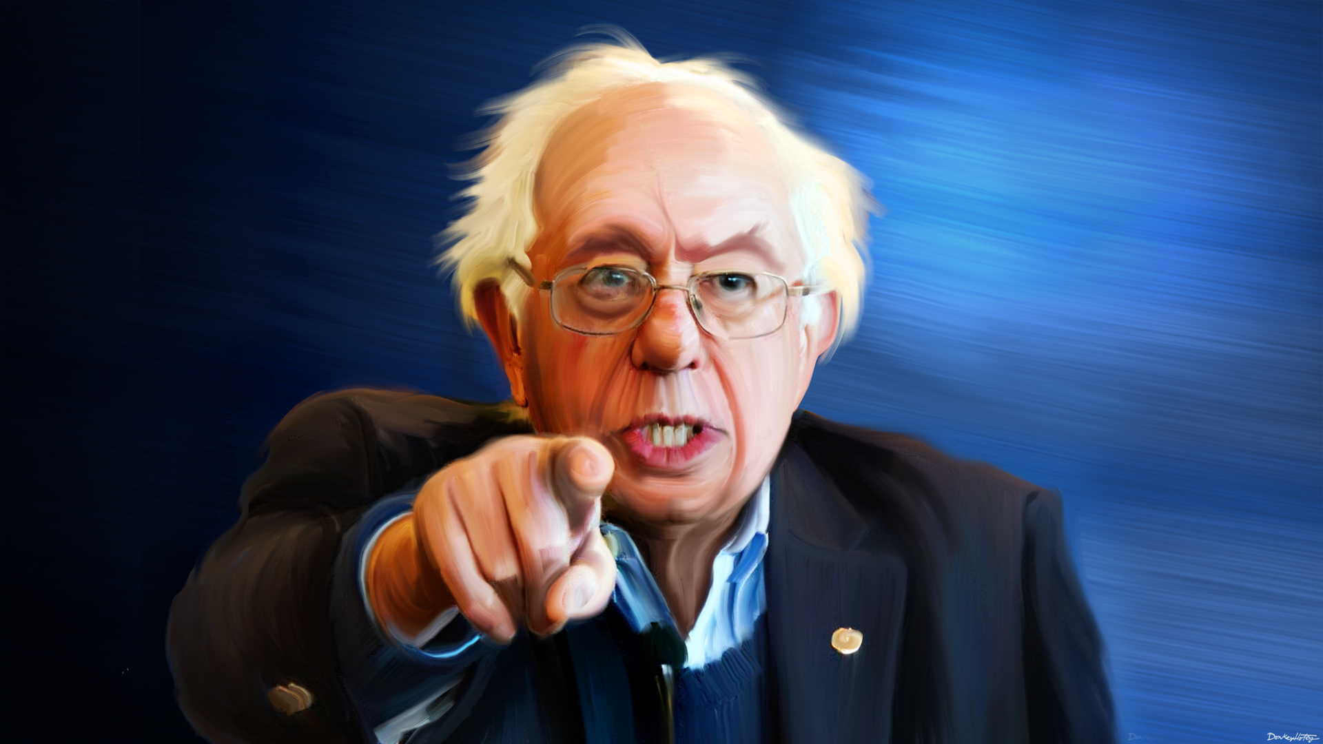 Bernie Sanders painted by Donkey Hotey