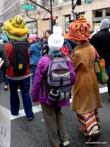 I don't know if these hats are part of the protest but they're nifty.