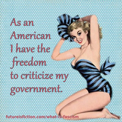 fifties gal in blue bikini says As an American I have the freedom to criticize my government.