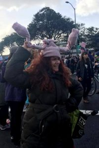 woman in uterus hat at Oakland Women's March